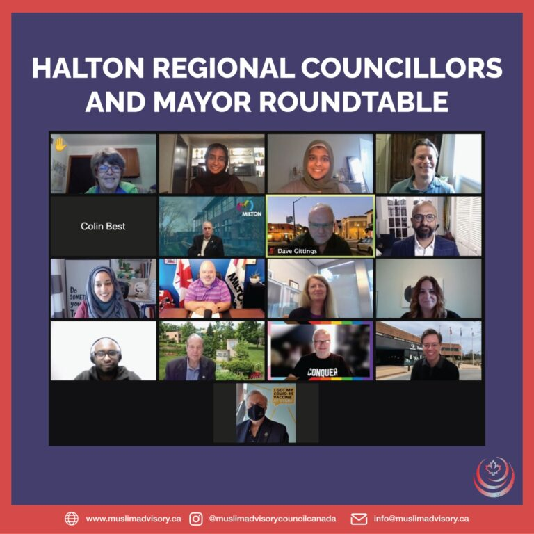 we met with Halton's Regional Councillors along with Halton Mayors from Milton, Oakville and Halton Hills to discuss the horrific terrorist attack on the Afzal family in London, Ontario and the lasting impacts of such hate on the community. - We presented policy recommendations on countering Islamophobia in Halton Region and welcomed the interactive discussion. - We look forward to continued dialogue with our Mayors and Councillors in Halton Region.